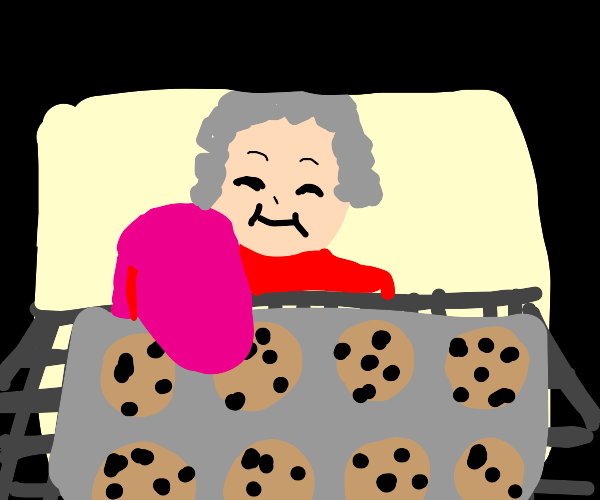 Grandma baking cookies