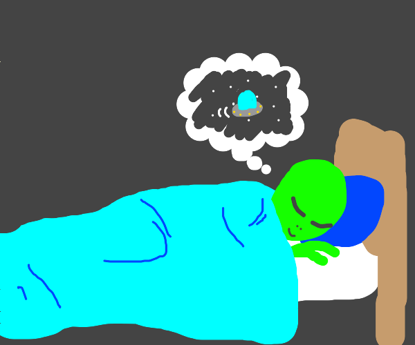 An alien asleep in bed