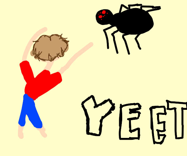 A dude yeeting a giant spider with red eyes
