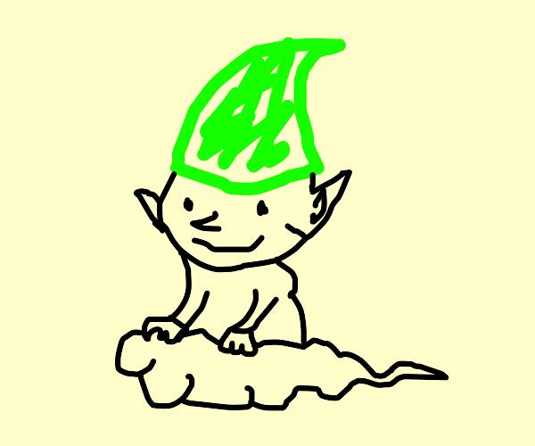 Green elf on a cloud