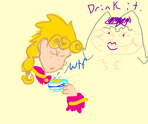 Abbaccio encouraging Giorno to drink his piss