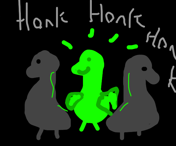 3 geese but one glows in the dark