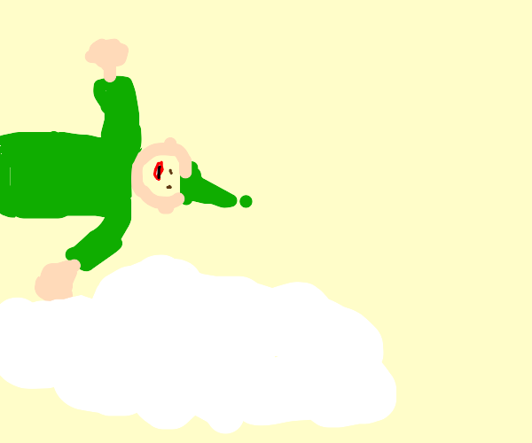 An elf flying on clouds