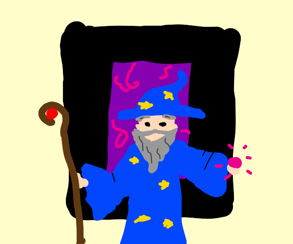 Wizard in front of portal
