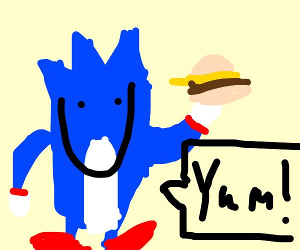 Sonic likes his burger