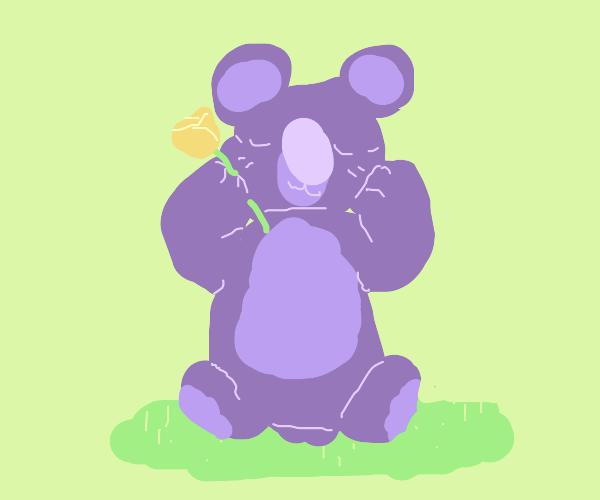 little koala with a flower
