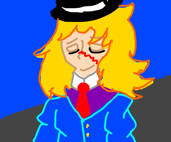 Blonde anime character in a suit and hat