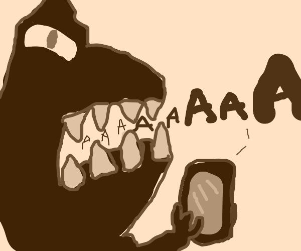 Dinosaur screaming at a phone