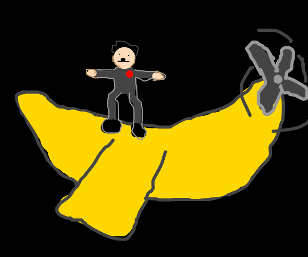 Hitler t-posing on banana plane