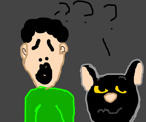 Ghostfaced person and kitty are confused