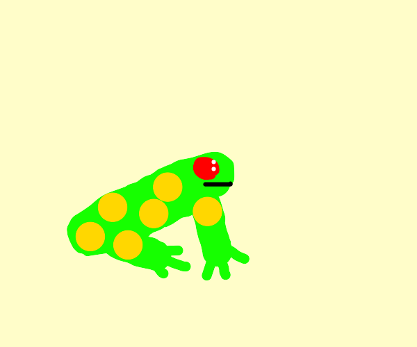 yellow spotted red eyed frog