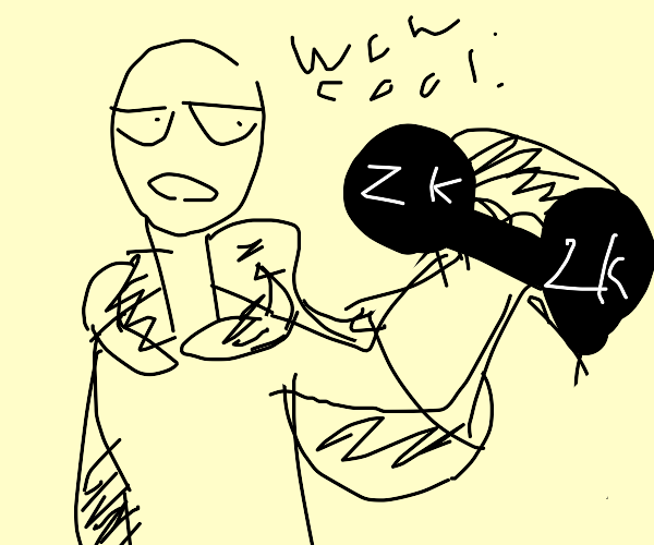 one punch man holding 2k dumbbel with one han