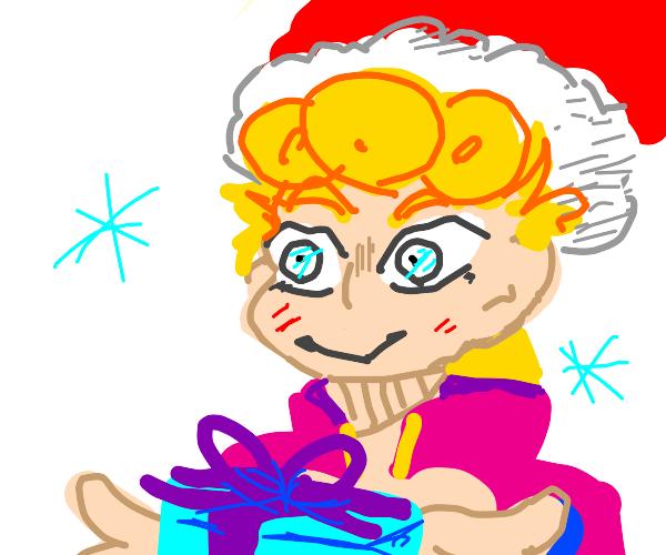 Giorno Giovanna celebrates christmas
