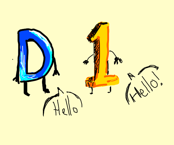 the letter d and number 1 greeting you