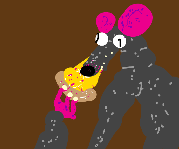 cute rat eats a glittery pizza