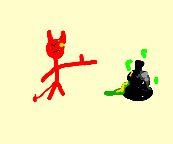 Mr. Satan points at trash bag