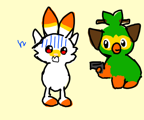 grookey trio w/ guns hate the other starters