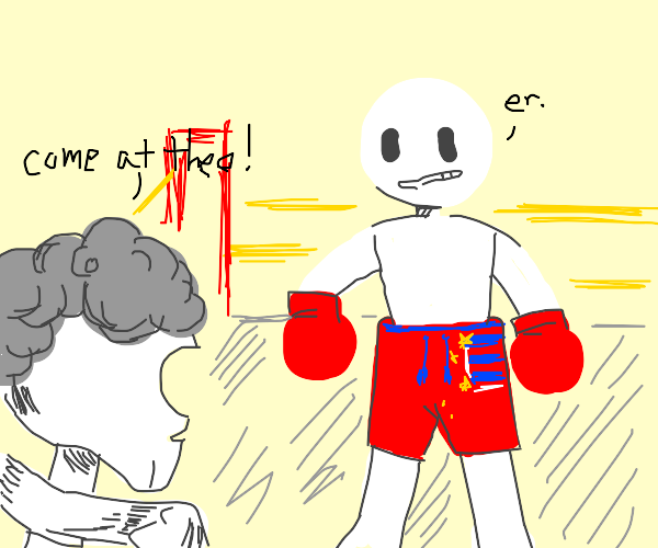 Patriotic boxer about to fight Franklin's mom