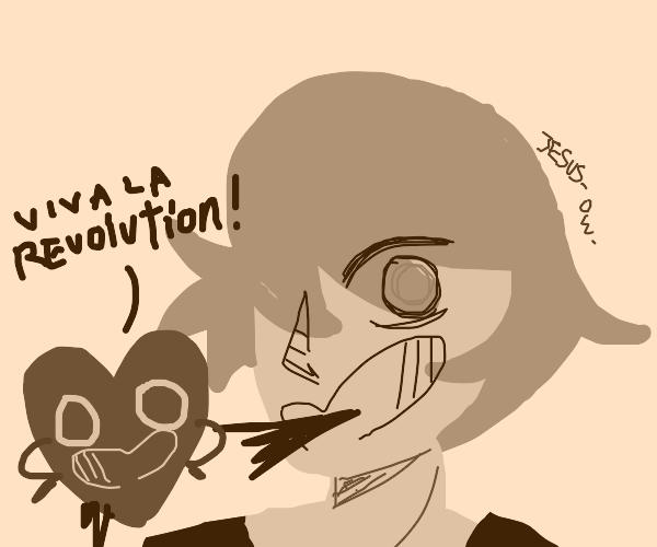 Heart burst out of man say Viva la Revolution