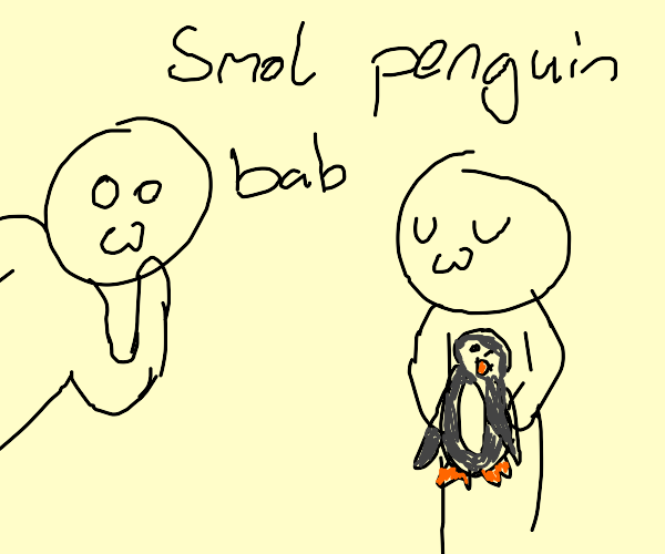 Person with an uwu face holding a penguin