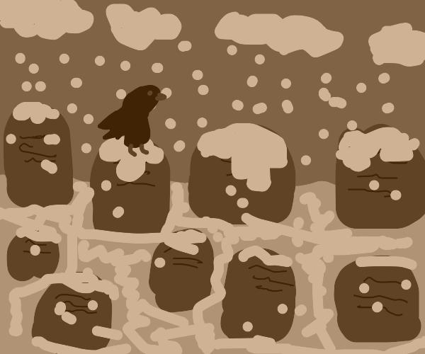 raven in a snowy graveyard