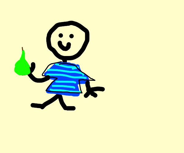 Young boy is happy to hold a pear