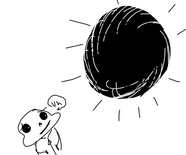 Sans stares into a pitch black sun