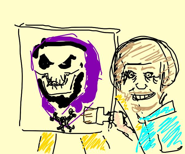 Bob Ross painting Skeletor
