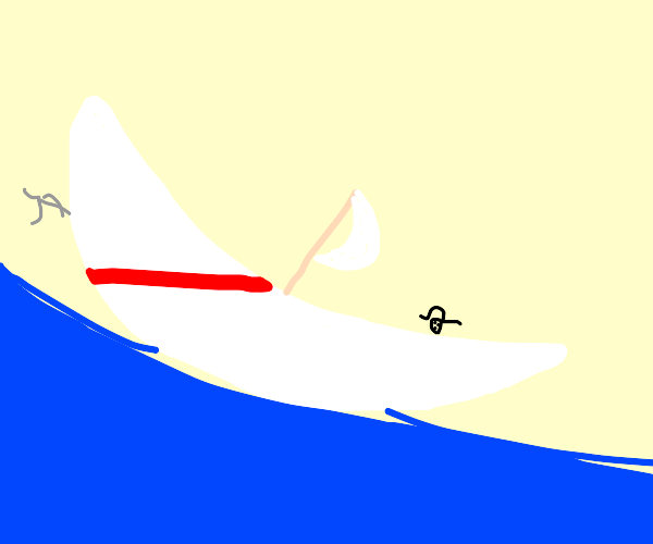 white boat with a red stripe