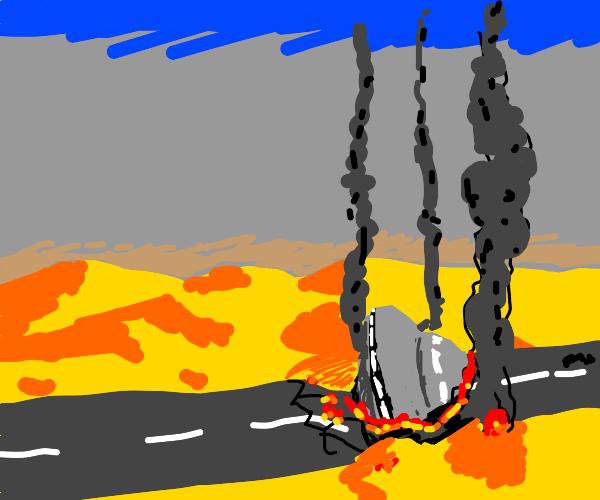 ufo crashs on highway