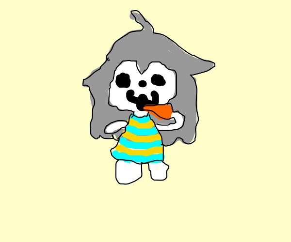 temmie (undertale) eats a carrot