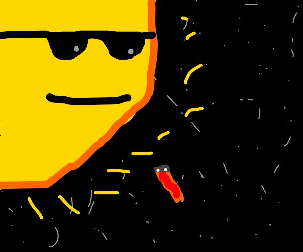 asteroid bouta hit the sun