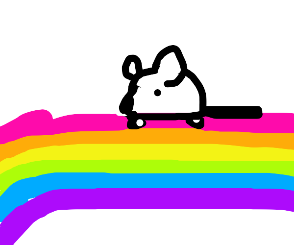 Rat riding on a rainbow
