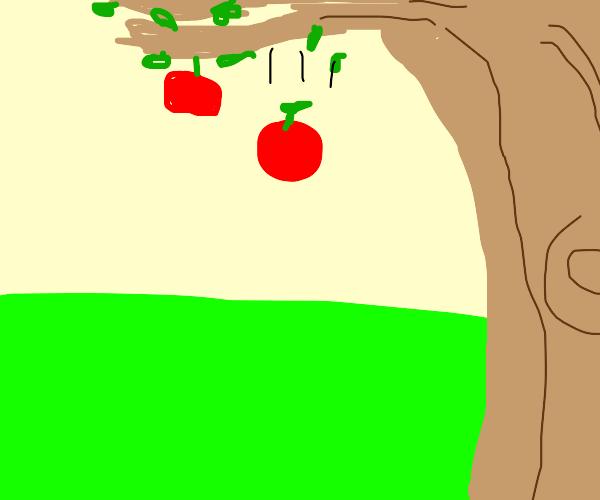 Apple falling from tree