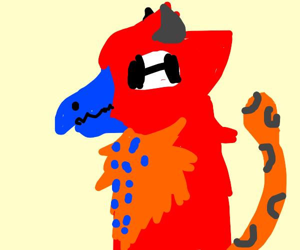 A weird animal with horns