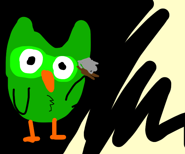 the duolingo owl watches from the shadows