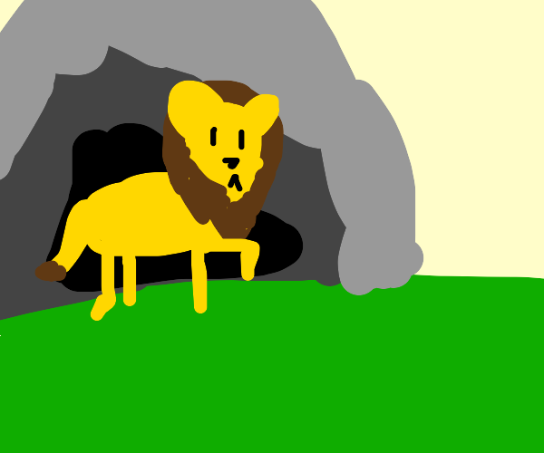 lion coming out of a cave