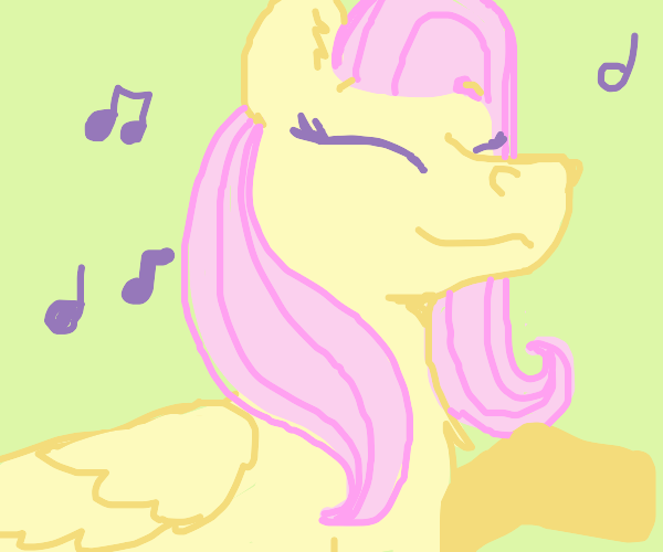 Happy fluttershy jamming to music