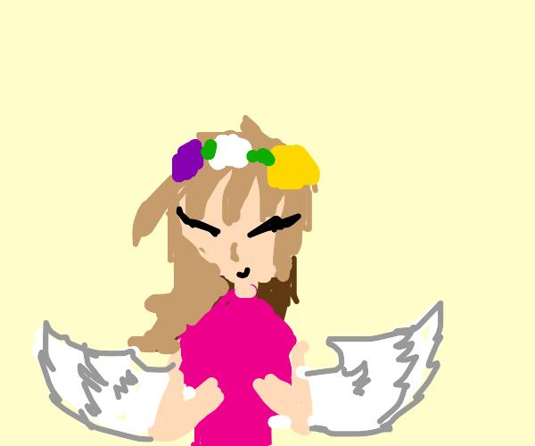 Little girl with flower hat has angel wings
