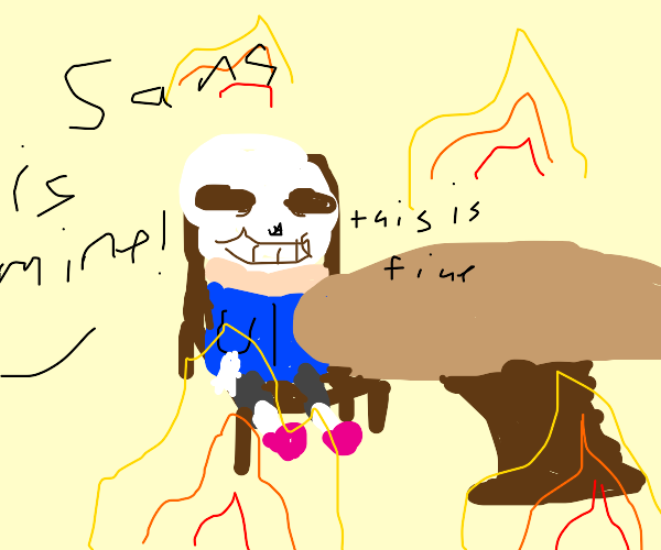 """the """"this is fine"""" picture but with Sans"""