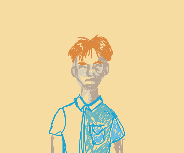 male with orange hair and blue shirt