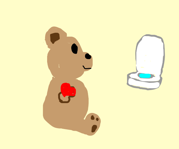 bear with heart-hands looking at an urinal