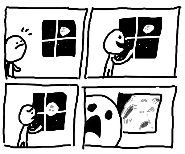 moon is too close, boy is alarmed