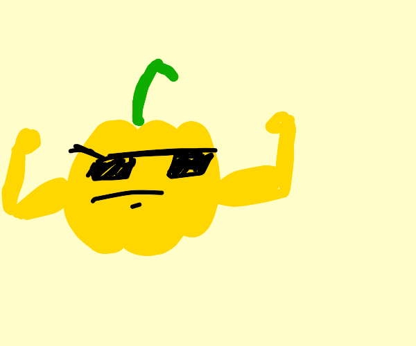 buff bell pepper with glasses