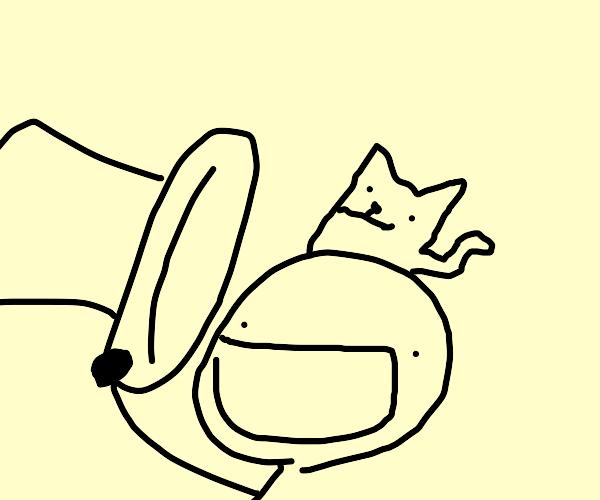 man holds hat (hidden kitten inside)
