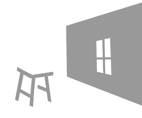 3D Room with window and stool