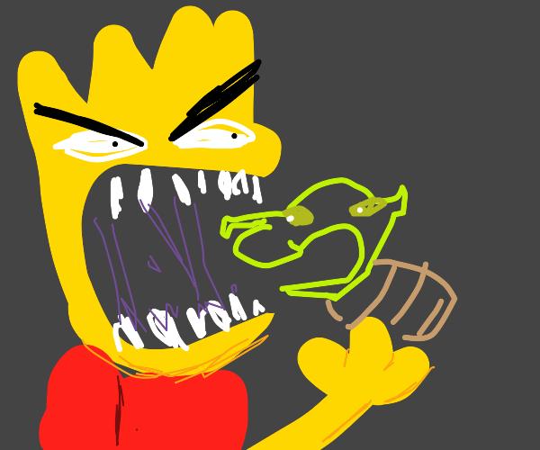 Bart Simpson Eats baby Shrek