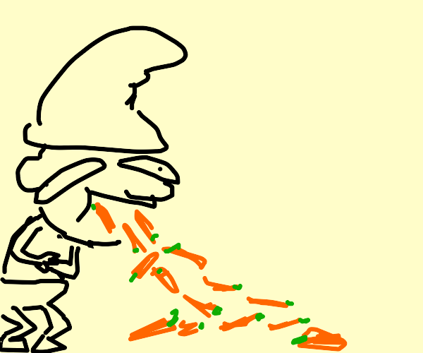Smurf vomiting carrots