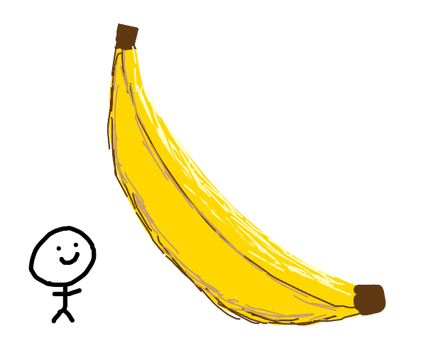 stickman with giant banana