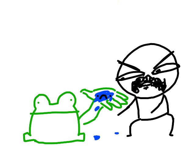 Man disgusted by sad water on frog's hand